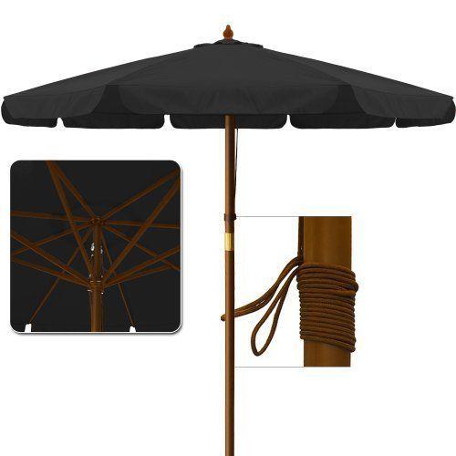 Garden Parasol Large Patio Umbrella Wooden Outdoor Sun Shade Canopy Black 3.5 m