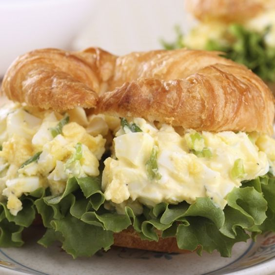 A tasty recipe for egg salad croissant sandwiches. This is ...