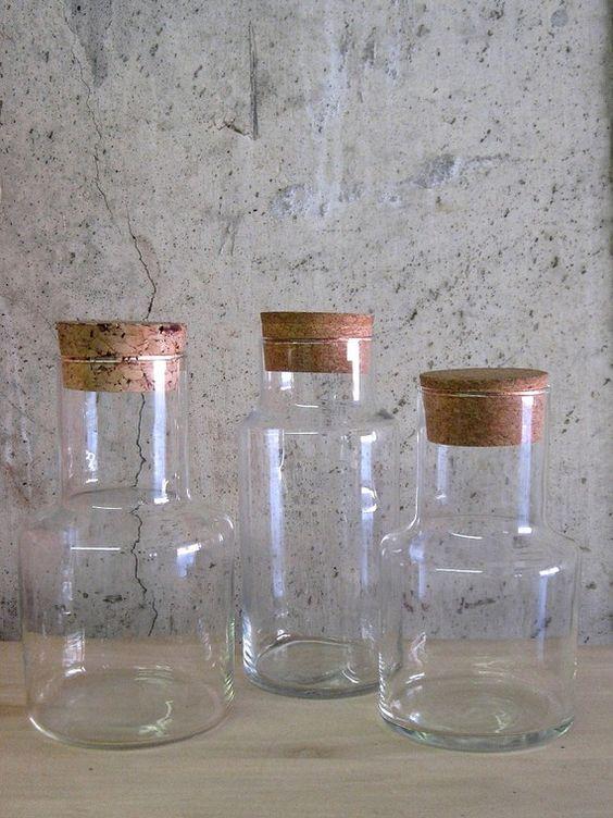 circa 1970s GLASS SPECIMEN JARS with cork lids by SelectModern, $24.00