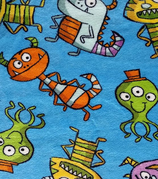 Ultra Fluffy Fabric- Monsters Blue