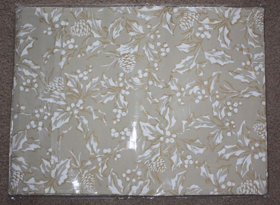 Ralph Lauren Beige Bowen Natural New Cloth 4 PLACEMATS Holly 14x19 Cotton Blend #RalphLauren