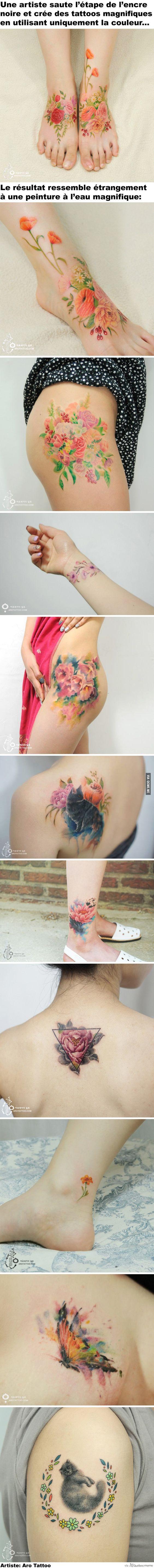11 Tattoos sans contour noir qui vous donneront envie de vous faire tatouer – Québec Meme +