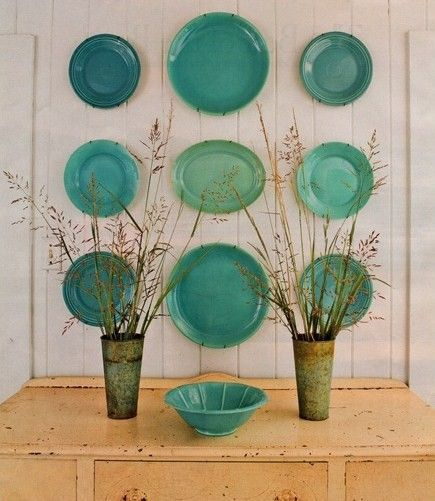 turquoise dishes  ~ on the wall ~!