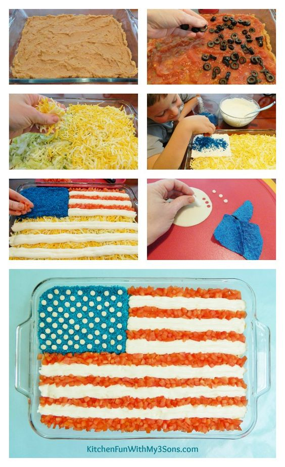 7 Layer Mexican Flag Dip for 4th of July from KitchenFunWithMy3Sons.com:
