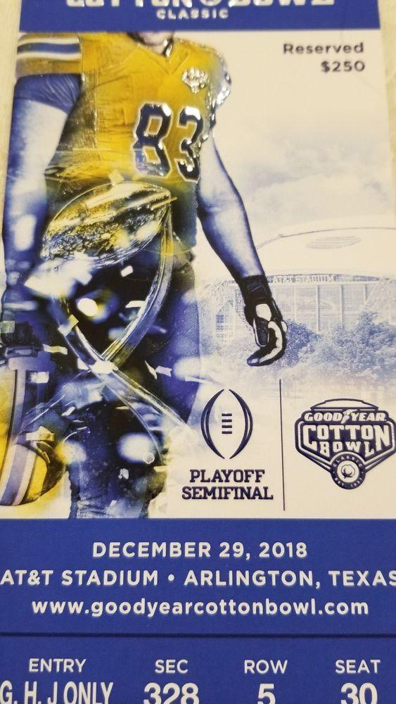2 2018 Goodyear Cotton Bowl Tickets Notre Dame Irish Vs