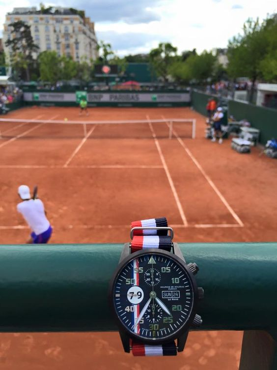 Watching the tennis in Paris with my Maurice de Mauriac Swiss watch. Le Mans Racing collection.
