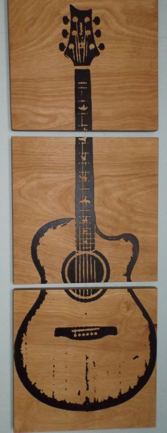 Wood Guitar Wall Decor : Custom acoustic guitar wood wall art home