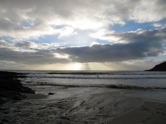 Winter morning on Swanpool Beach, Falmouth, Cornwall.