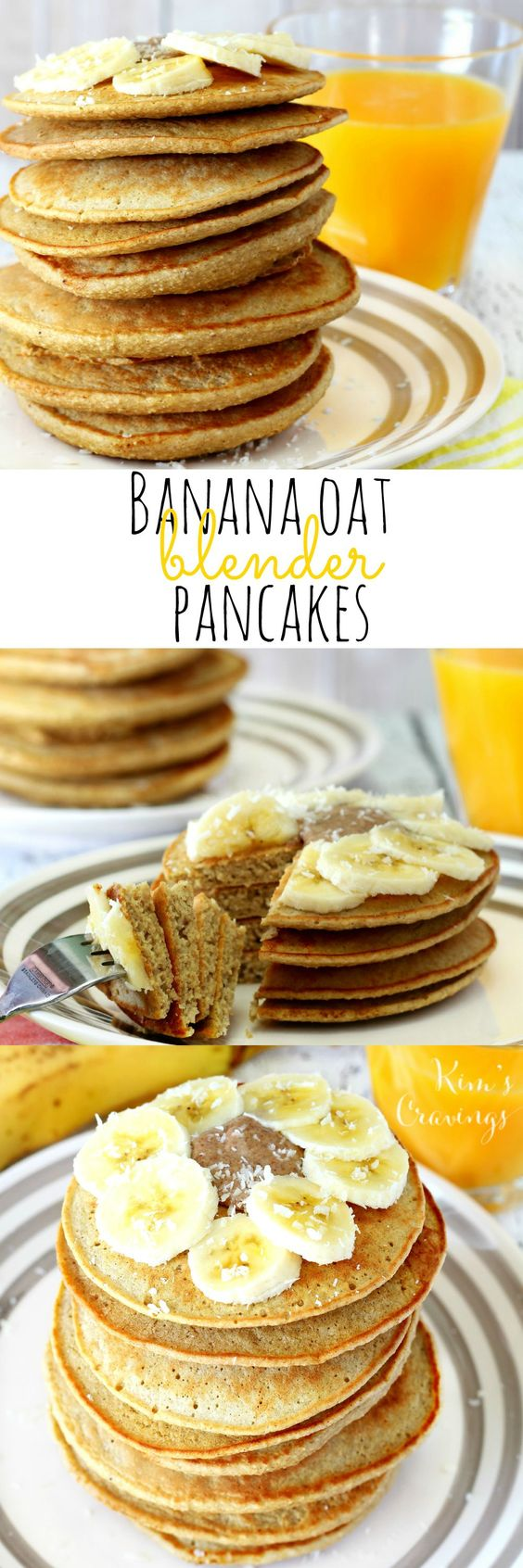 So super easy and yummy- these Banana Oat Blender Pancakes come together in about 5 minutes and are full of nutritious goodness! You'll love them because they're gluten-free, dairy-free and free of refined sugars. Your kiddos will gobble them up because they're as tasty as can be! (gluten-free, low-calorie, dairy-free):