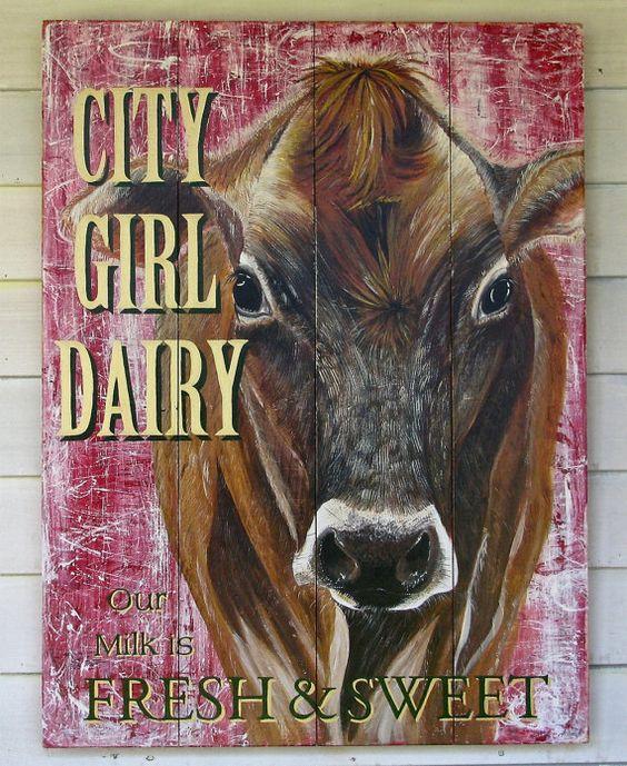 Original Cow painting City Girl Dairy on by johnandgigiathome