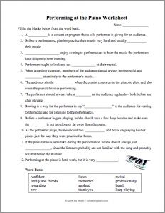 Printables Etiquette Worksheets worksheets recital and piano on pinterest a worksheet to prepare students for recitals covering topics like stage presence performance