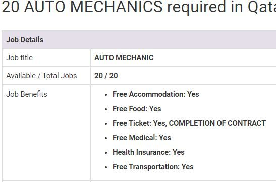 Auto Mechanic Jobs In Qatar 2019 Mechanic Jobs Jobs In Pakistan