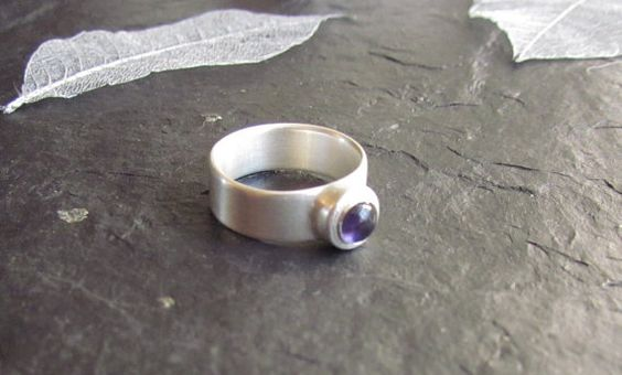 Wide band amethyst ring by Silverlines on Etsy, £80.00