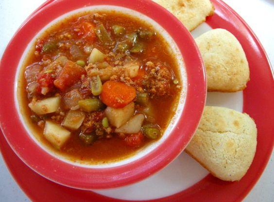 Sopa con carne picada