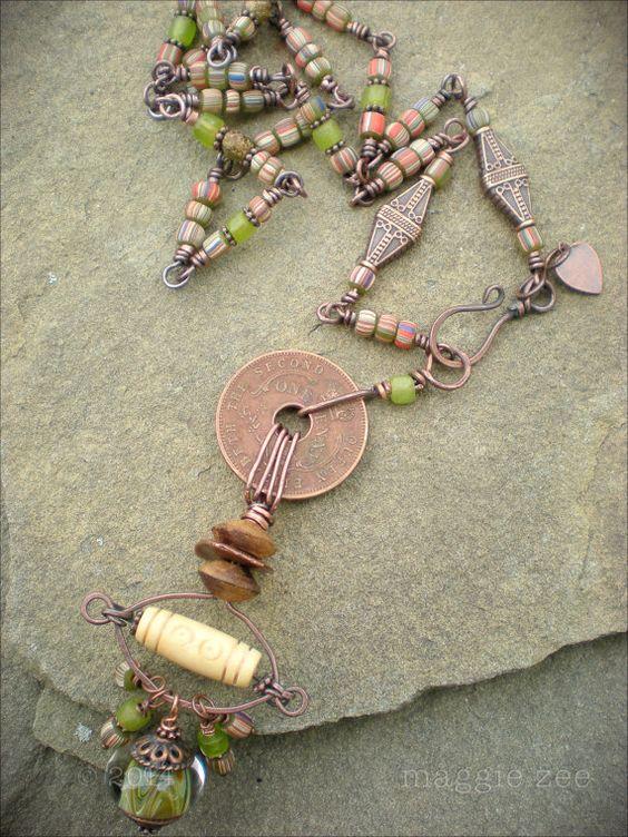 Long Evil Eye Shaman Amulet Necklace by maggiezees