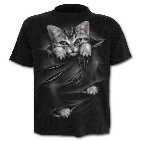 Sharp claws Tore Clothing Cat Women Men T-Shirt 3D Print Short Sleeve Tee Tops