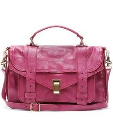 Proenza Schouler's iconic PS1 leather tote in raspberry