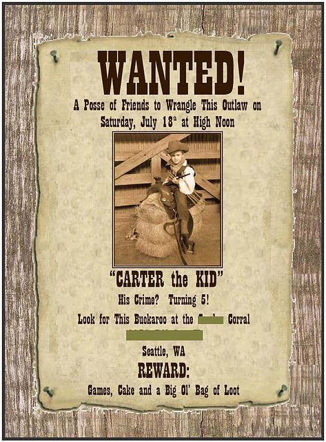cute western theme party invite