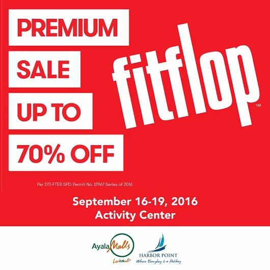 The largest Fitflop Sale to ever happen in Subic Bay is happening this weekend from September 16 - 19, 2016 at the Activity Center!  Check out Fitflop Premium Sale at Harbor Point!  Get your favorite pair of shoes and sandals for as much as 70% OFF!  For more promo deals, VISIT http://mypromo.com.ph/! SUBSCRIPTION IS FREE! Please SHARE MyPromo Online Page to your friends to enjoy promo deals!