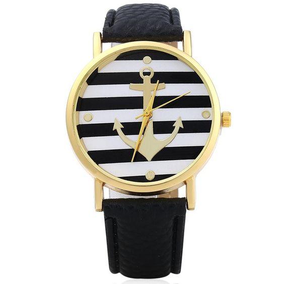Las nuevas mujeres del reloj 5 colores del patrón del ancla Dial Leather Band ronda Dial relojes de ginebra mujeres se visten Relogio Feminino