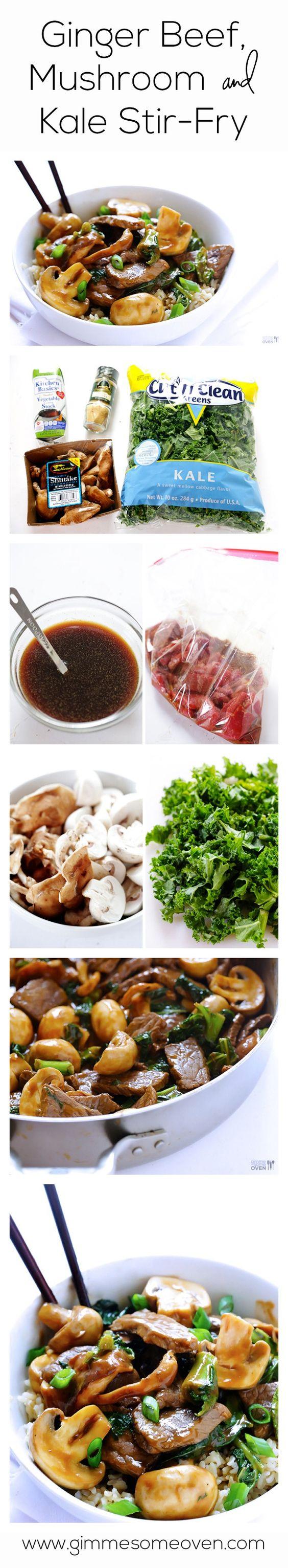 Ginger Beef, Mushroom & Kale Stir-Fry | Recipe | Easy Stir ...