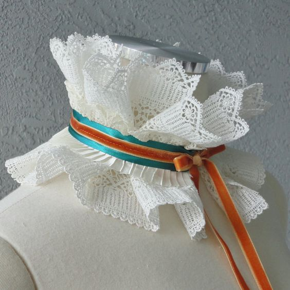 Victorian Inspired Ivory Ruffle Collar Necklace by Chuletindesigns, $28.00
