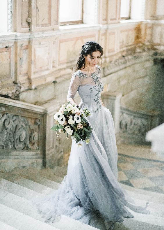 31 Non Traditional Bridal Outfits That Wow Part 2 Nontraditional Wedding Dress November Wedding Dresses Blue Wedding Dresses