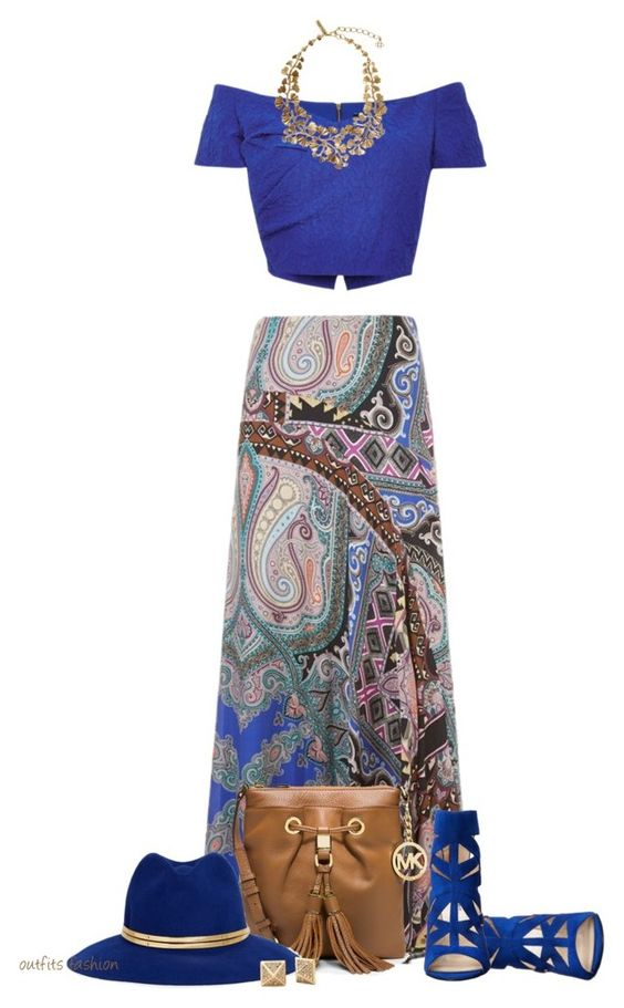 """Crop Top & Maxi Skirt"" by rosipolooyas on Polyvore featuring moda, Etro, Saloni, Nine West, MICHAEL Michael Kors, Sensi Studio y Oscar de la Renta"