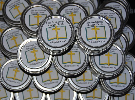 Scented Candle party favors, in our popular travel tin, for a church's Ladies Fellowship.