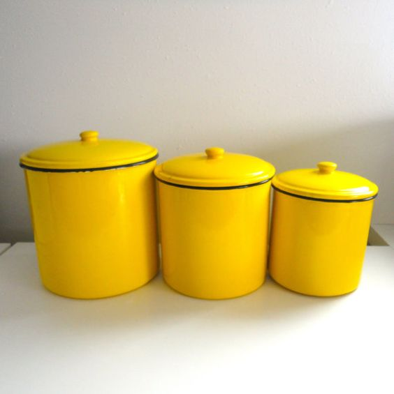 Kitchen Canisters Yellow Enamel Canister Storage for by KimBuilt ...