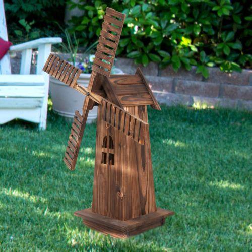 34 In H Ornamental Decorative Garden Yard Wooden Windmill Classic