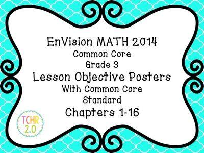 EnVision Math Grade 3 Learning Objective Vocab Posters Quatrefoil