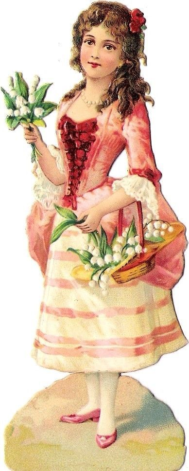 Oblaten Glanzbild scrap diecut chromo Dame 12,5cm girl lady Kind child lilyvalle: