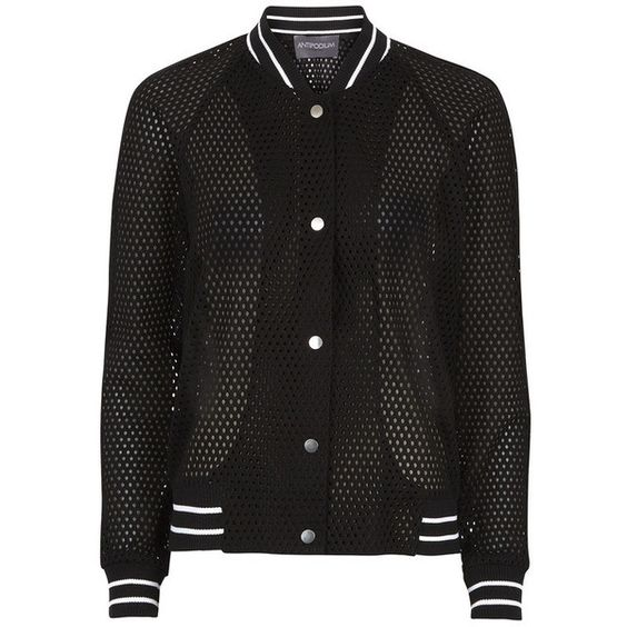 Antipodium London Mesh Bomber (€375) found on Polyvore featuring women's fashion, outerwear, jackets, black, stripe jacket, bomber jacket, blouson jacket, antipodium and bomber style jacket: