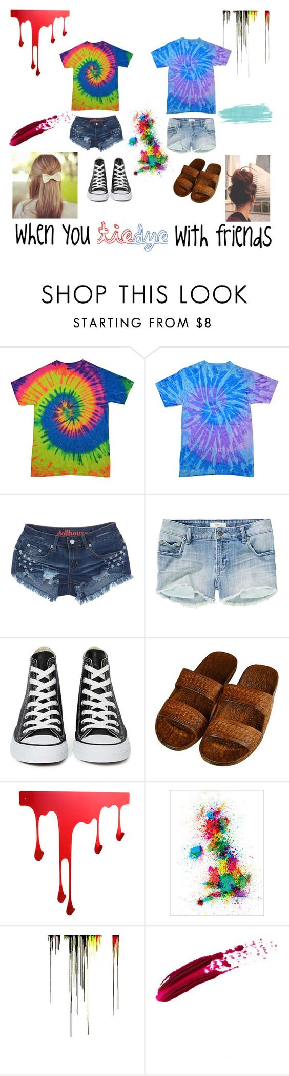 """tie-dye with friends *3*"" by clairediver ❤ liked on Polyvore featuring Talula, Converse and Pulpo"