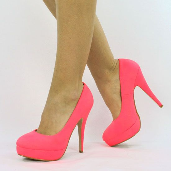 Love the color!   13 CM HIGH HEELS PLATEAU PUMPS IN NEON PINK B7634 DAMEN SCHUHE | eBay
