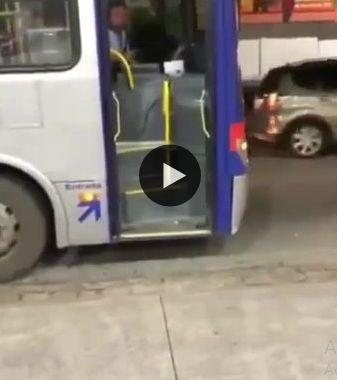 Cachorro pegando o ônibus,que legal.