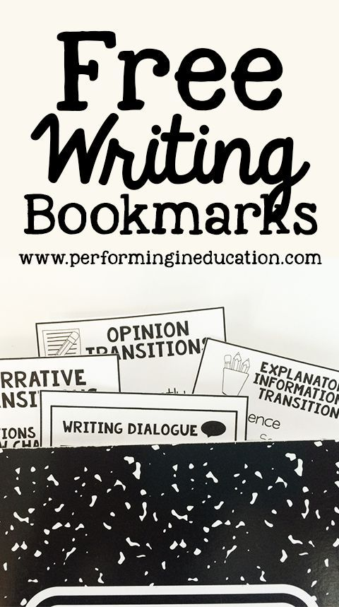 Free writing bookmarks with opinion transitions, narrative transitions, writing dialogue, and informational transitions