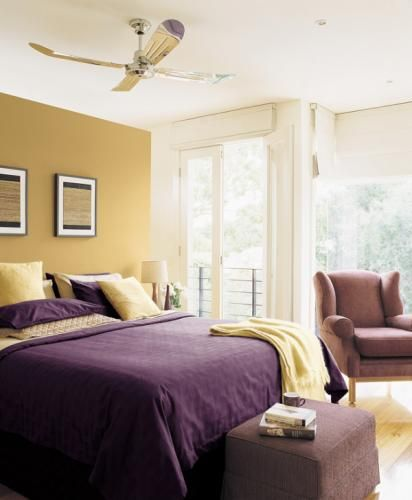 Purple and Yellow bedroom colors: