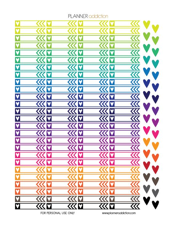 Free Printable Planner Stickers - Heart Flags - Erin Condren & Happy Planner