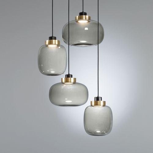 VINTAGE Decken Hänge Lampe Rauch Glas Kugel Pendel Leuchte Esstisch Beleuchtung