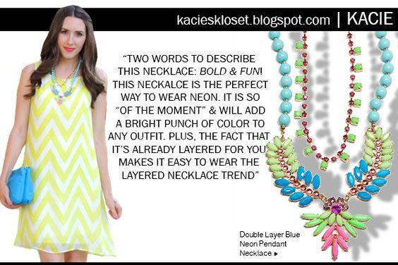Kacie from Kacies Kloset blog styles a t+j Designs necklace!