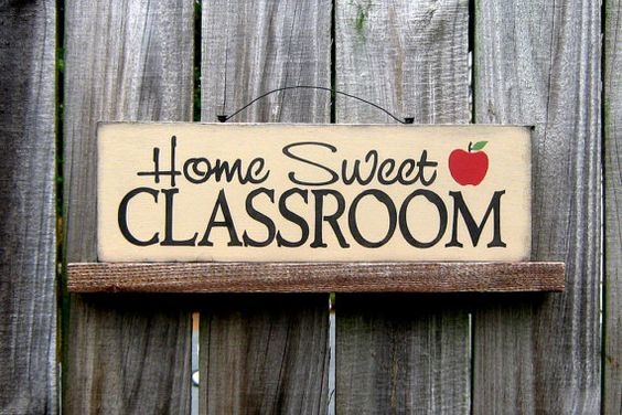 Home Sweet Classroom Sign, Teacher, Classroom, Country Tan, Black Lettering, Red Apple