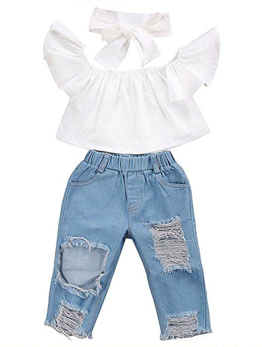 Toddler Kids Baby Girls Outfits Off Shoulder T-Shirt Tops+Denim Pants Jeans Set