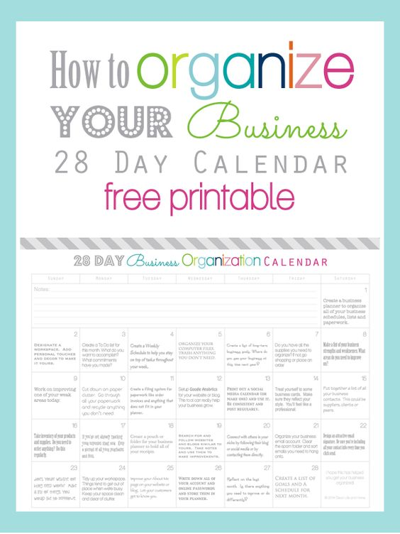 How To Organize Your Business in 28 Days Calendar FREE Printable – Free Business Printables