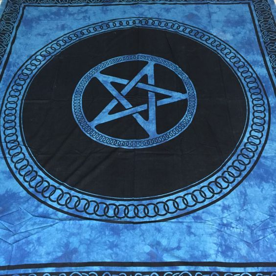 Blue Pentacle Bedspread 20 Prettytwisted Wallhanging