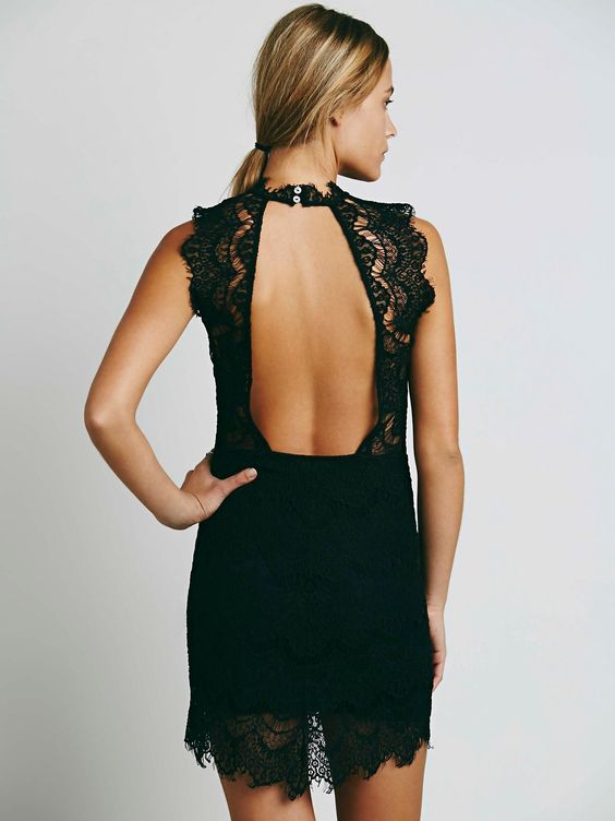 Daydream Bodycon Slip | Bodycon lace slip with a high neck and scalloped trim. Frayed cap sleeves and an open cutout in back. Lining features a sweetheart neckline.