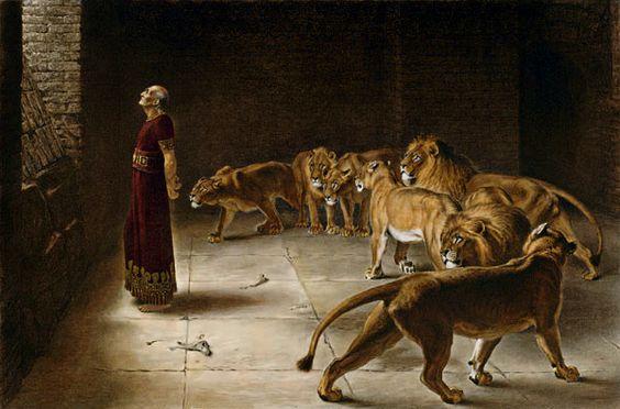 Representación ideada de Daniel en la fosa de los leones