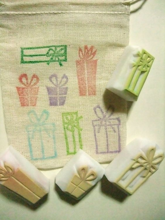 Gift box stamps.... each stamped onto fabric bag, great idea for storage to know what is actually in the bag!