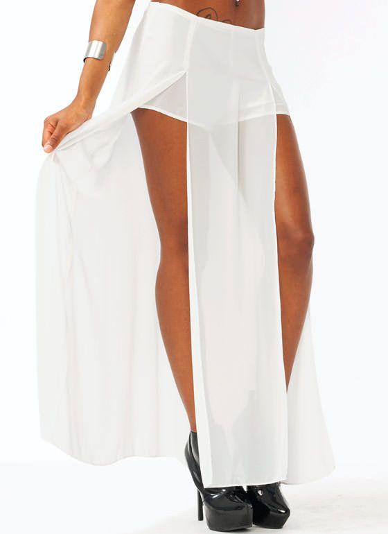 Double Slit Chiffon Maxi Skirt $36.40 gojane.com sz m